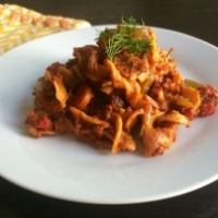Organic Red Lentil Mini Fettuccine with Soyrizo Ragu