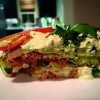 {Raw Vegan} Lasagne with Walnut Bolognese, Basil Pesto, Marinara and Macadamia Cheese sauce.