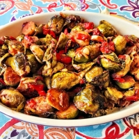 Roasted Brussels Sprouts with Red Pepper Tomato Sauce