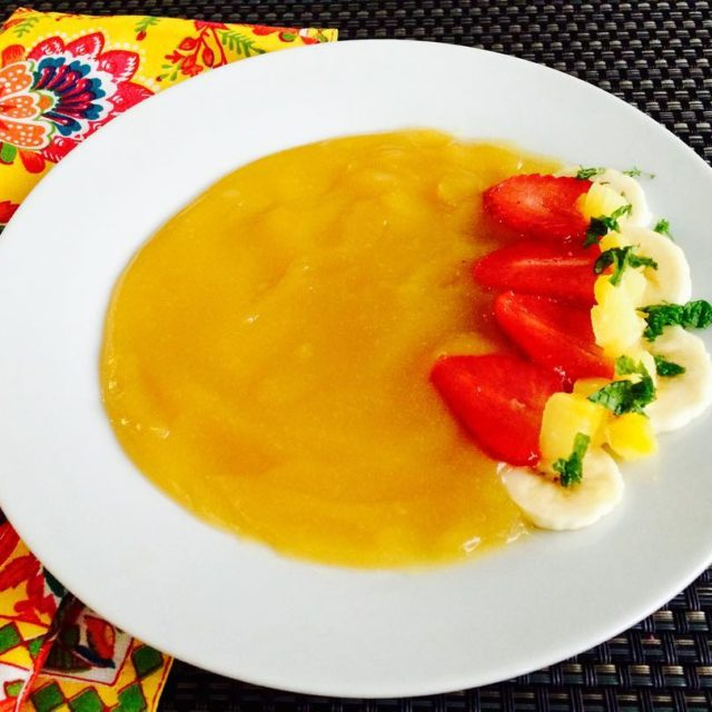 Pineapple Gel Soup Infused with Ginger and Mint served withhellip