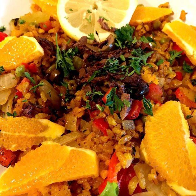 Spanish paella from nativefoodscafe Not bad!! vegan veggiesonly paella sandiegohellip