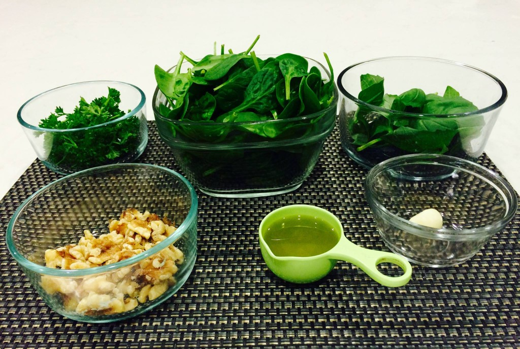 Spinach Basil Pesto Mise en Place