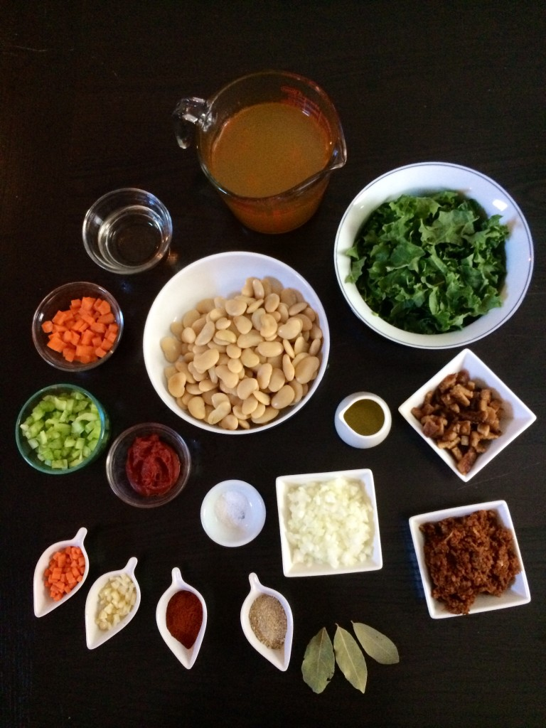 Vegan Fabada Asturiana with Kale - Mise en Place