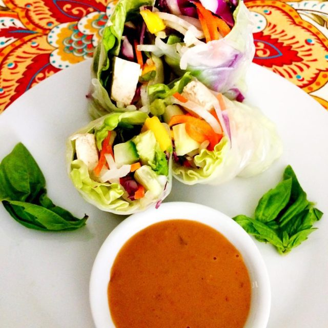 Summer Rolls with Thai Coconut Peanut Sauce inspired by earthyandyhellip