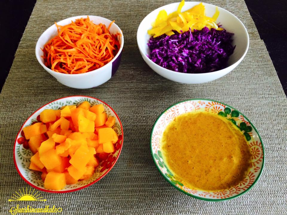 Rainbow Salad with Almond Carrot Ginger Sauce
